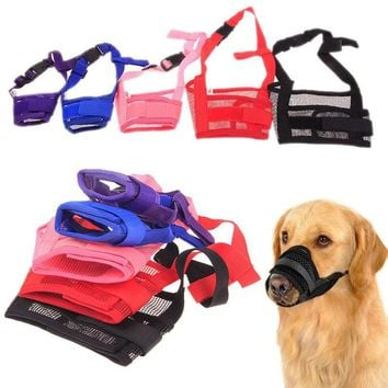 Hot New Puppy Pet Nylon Material Adjustable Mask Anti Bark Bite Mesh Soft Mouth Muzzle Grooming Chew Stop For Small Large Dog