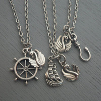 Emma and Hook Captain Swan Necklace Once Upon A Time  Inspired Jewelry OUAT Emma Swan Captain Hook Gift