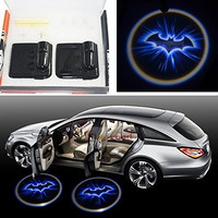 2x Night Cold Blue bat batman Black Wireless car door LED projection projector light courtesy welcome logo shadow ghost light laser projector Magnet Sensor Easy installing = 1927881796