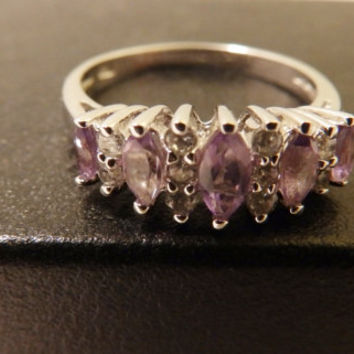 Sterling Silver Amethyst and CZ Marquis Stone Ring Size 7