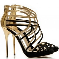 Jimmy Choo - Melvin black and gold leather and velvet sandals - Cricket Fashion Boutique UK