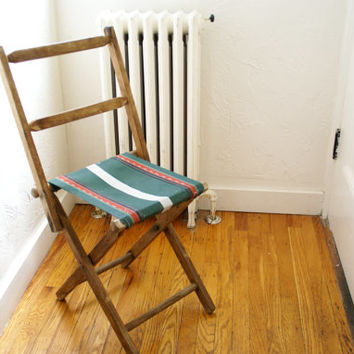 Vintage c. 1940 Oil Canvas Folding Camp Chair