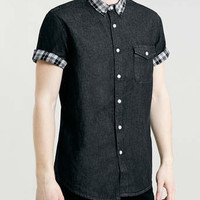 Black Denim Check Collar Short sleeve shirt - 20% off Short Sleeve Shirts - Offers