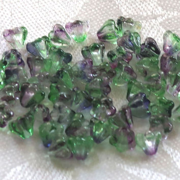Lot of 50 6mm x 4mm Blueberry Green Tea baby Bell Flower Czech glass beads, blue/violet & green pressed glass beads 31101