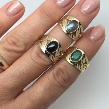 gold plated ring with gemstone,emerald ring,labradorite stone ring,black onyx stone ring,gold labradorite ring,gipsy tribal boho chic