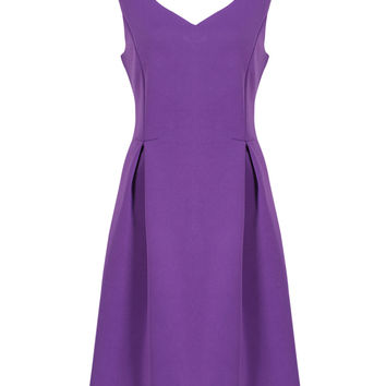 Purple V-neck High Waist Skater Dress