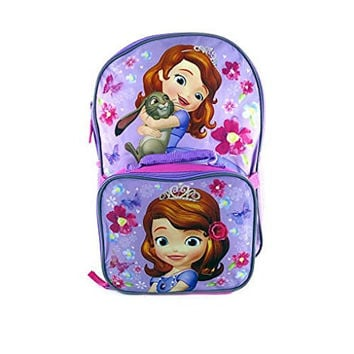 Disney Sofia The First Pink and Purple 16 inch Backpack & Detachable Lunch Box