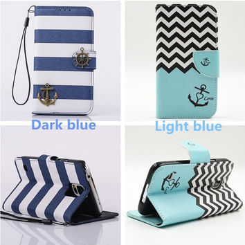 Unique Navy Blue Stripes Anchor Luxury PU Leather Card Slots Wallet Flip Case Cover For  Samsung Galaxy S6 Edge Plus,S7 Edge Plus,S7 Plus,Note 5 Note 4 Note 3,Galaxy S7 S6 S5 S4 S3 mini,for Apple iPhone 6 Plus iPhone 6s Plus 5s 5c 4s,LG,HTC  = 5709765441