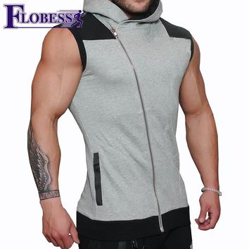 2018 Men Sleeveless Sports Vest Running Workout Training Jacket Hiking Vests Exercise Man Leisure Hoodies Fitness Jackets