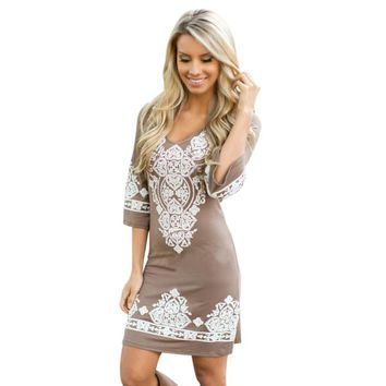 2017 Ethnic Style Women Sexy Round Collar Cashew Flowers Paisley Classical Printing Elastic Force Dress