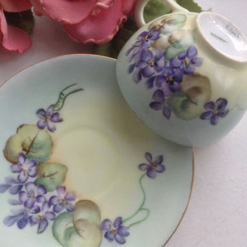 Bavarian Tea Cup and Saucer Porcelain Koch Handpainted Violet Floral 1915 Tea Party Collectible Floral Bridal Wedding Mother's Day Gift