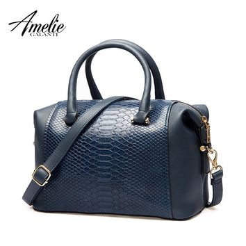 AMELIE GALANTI Handbag Women Totes classic Patchwork Serpentine Large capacity Daily use Common style Suitable for all ages 2017