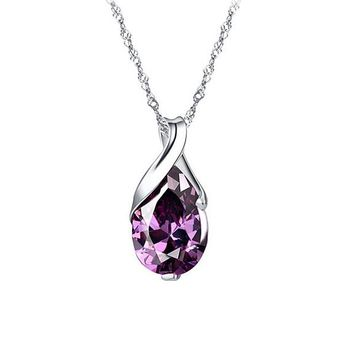 Purple Zircon Teardrop Chain Choker Pendant Necklace