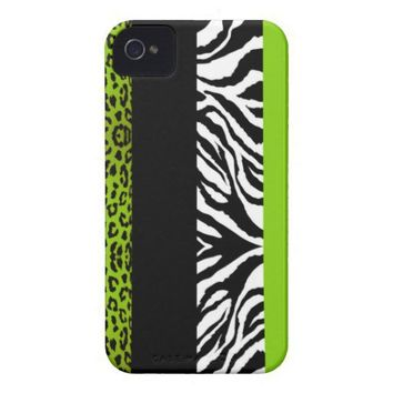 Lime Green Leopard and Zebra Custom Animal Print Iphone 4 Cases from Zazzle.com