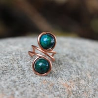 Earth Teal Copper Ear Cuff with Sapphire Australian Jasper, Unisex Tribal BOHO Hypoallergenic Women Men Gift, Nature Inspired, Copper Cuff