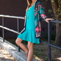 Native Love Cardigan, Turquoise/Pink