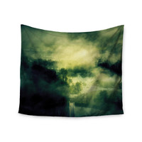 "888 Design ""Dark Mystical Landscape "" Green Black Wall Tapestry"
