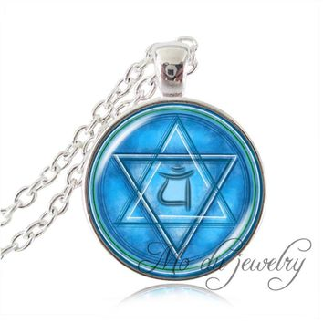 Silver chain blue green pentacle wiccan jewelry pentagram long necklace indian jewelry om symbol,yoga occult pendant charms