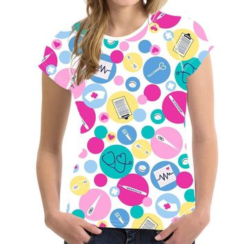 Medical Kit Polka Dot All Over Print T-Shirts - Ladies Crew Neck Novelty Tee