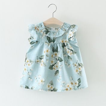2017 Summer Baby Dress Cotton Floral Infant Girl Dresses Ruffles Toddler Baby Girl Clothes 3 Colors