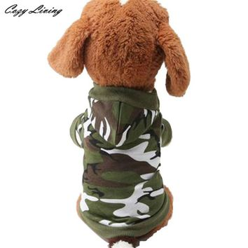1 PC XS S M L Dog Clothing Pet Sweatshirt Camo Camouflage Coats Hoodies Costume Dogs Clothes Coat For Small Medium Dogs D19
