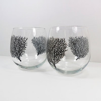 Wine Glasses Stemless Black Coral Hand Painted by PaintingByElaine