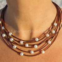 Pearl and leather necklace - leather and pearl necklace - multistrand necklace - white pearl necklace - pearl necklace