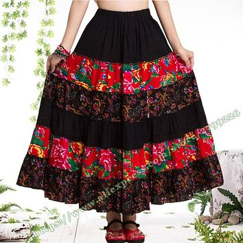 Pastoral Style Cotton Flax Floral Stitching Casual Long Skirts / Novel Gypsy Bohemia BOHO Spain pleated Maxi skirts for Womens