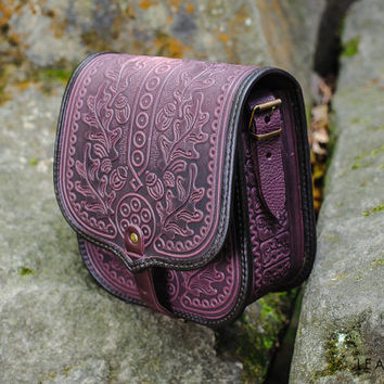 Leather purse Crossbody bag Genuine leather Violet bag Shoulder bag Leather messenger bag Tooled leather bag Leather bags women Vintage