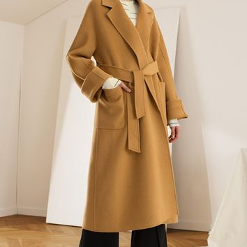 Wide Sleeve Wool Blend Coat