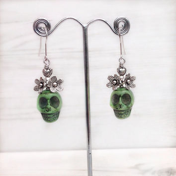 sugar skull earrings, green skull, sterling silver skull jewelry, day of the dead, frida jewelry