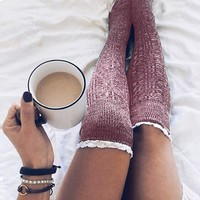 Women Cotton Thigh High Long Stockings Knit Over Knee Socks Compression Fashion Brand Ladies Women Stocking Winter Soft Stocking