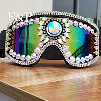 Rhinestone and Rivets Holographic Goggles