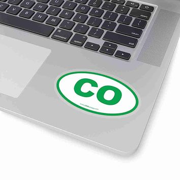 Colorado CO Euro Oval Sticker GREEN