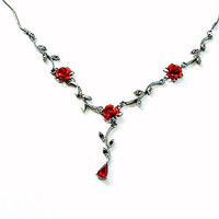 Vintage Metal Rose Necklace Red Flower Rhinestone Goth Gunmetal Gray Chain Vampire Jewelry