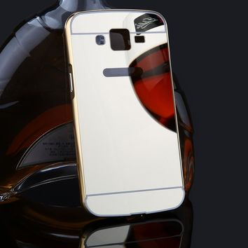2 in 1 Mirror Case Plating Metal Bumper Ultra thin Mirror Acrylic Cover For Samsung Galaxy Grand 2 Duos 7106 G7106 G7102 G7105