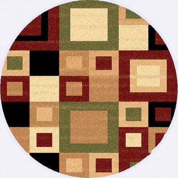 Dynamic Rugs Yazd Red-Sage Modern Round Area Rug