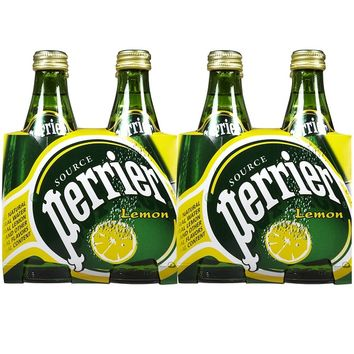 Perrier Lemon Sparkling Mineral Water 11 Oz Glass Bottles - Case of 24