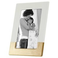 "4""x6"" Ivory Ceramic with Bronze Accents Frame - Threshold™"