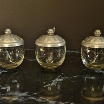 Condiment Jars with Hammered Aluminum Lids