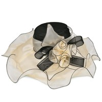 VBIGER Women Organza Floral Ruffles Cap Wide Large Brim Tea Party Wedding Sun Hat Beach Sunbonnet