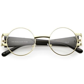 Steampunk Inspired Round Glasses Chunky Arms Clear Lens 49mm