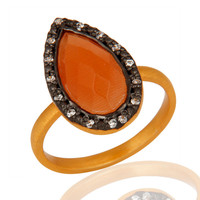 24K Gold Plated Sterling Silver 925 Natural Peach Moonstone Ring With CZ
