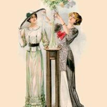 "Lady Arranging Flowers: Paper poster printed on 12"""" x 18"""" stock."