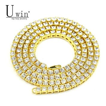 UWIN Mens Hip hop Necklace Iced Out 1 Row Rhinestone Choker Bling Crystal Tennis Chain Necklace 18inch-30inch Drop shipping