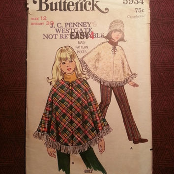 Uncut 1970's Butterick Sewing Pattern, 5934! Size 12 Girls/Kids/Child/Ponchos/Lined Ponchos/Flared Pants/Bell Bottoms/Elasticized Waists