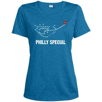 Philly Special Play Philadelphia Eagles Team Super Bowl 2018 T Shirt Football LST360 Sport-Tek Ladies' Heather Dri-Fit Moisture-Wicking T-Shirt
