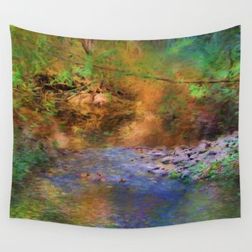 Fantasy Lake Stream Wall Tapestry by Theresa Campbell D'August Art