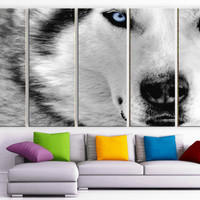 """XLARGE 30""""x 70"""" 5 Panels Art Canvas Print beautiful Wolf white gray animal Wall Home Decor interior (Included framed 1.5"""" depth)"""