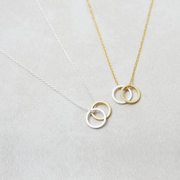 Double Circles Statement Necklace